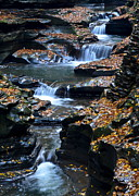 Rock Face Posters - Autumn Cascade Poster by Robert Harmon