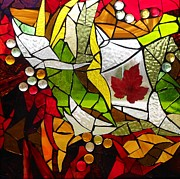 Autumn Leaf Glass Art Posters - Autumn  Poster by Catherine Van Der Woerd