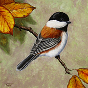 Bird Painting Prints - Autumn Charm Print by Crista Forest