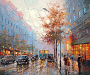 Crosswalk Painting Posters - Autumn cityscape Poster by Dmitry Spiros