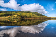 Llyn Prints - Autumn Clouds Print by Adrian Evans