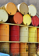 Gallons Prints - Autumn Colored Water Barrels Print by MaryJane Armstrong