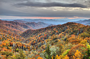 Pierre Leclerc Framed Prints - Autumn colors on the Blue Ridge Parkway at sunset Framed Print by Pierre Leclerc