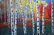 Landscapes Reliefs - Autumn Concerto - Aspen Birchtree Art by Jennifer Vranes