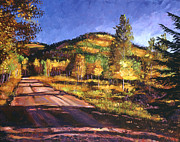 Roads Paintings - Autumn Country Road by David Lloyd Glover