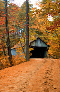 New England Village Scene Prints - Autumn Covered Bridge Print by Joann Vitali