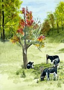 Cows Mixed Media - Autumn cows by Phyllis Muller