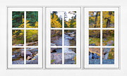 Office Space Prints - Autumn Creek White Picture Window Frame View Print by James Bo Insogna