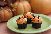Holidays And Celebrations Prints - Autumn Cupcakes Print by Juli Scalzi