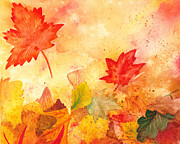 Thanksgiving Art Prints - Autumn Dance Print by Irina Sztukowski