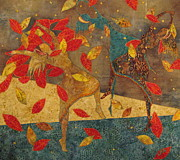 Fiber Art Tapestries - Textiles Prints - Autumn Dance Print by Lynda K Boardman
