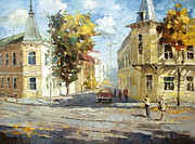 Crosswalk Painting Posters - Autumn day Poster by Dmitry Spiros