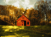 Red School House Digital Art Prints - Autumn Day on School House Hill Print by Denise Beverly
