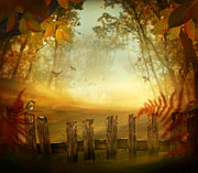 Autumn Design - Forest With Wood Fence Print by Mythja  Photography
