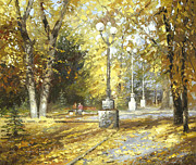 Park Scene Paintings - Autumn by Dmitry Spiros
