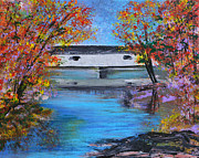 Covered Bridge Painting Metal Prints - Autumn Evening Metal Print by Alys Caviness-Gober
