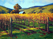 Autumn Vineyards Paintings - Autumn Evening Napa by Armand Cabrera