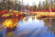 Sunriver Paintings - Autumn Fall River II by Pat Cross