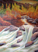 Waterfalls Paintings - Autumn Falls by Lori Salisbury