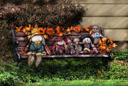 Benches Prints - Autumn - Family Reunion Print by Mike Savad