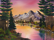 Mountain Pine Tree Painting Framed Prints - Autumn Fantasy Framed Print by C Steele