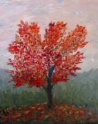 Fall Scenes Painting Posters - Autumn Fire Poster by Nancy Craig
