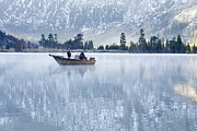 Boat Art - Autumn Fishing At Silver Lake by Priya Ghose