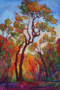 Zion National Park Paintings - Autumn Flame by Erin Hanson
