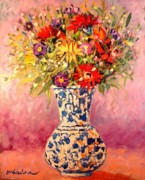 Edulescu Paintings - Autumn Flowers by Ana Maria Edulescu