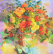 Expression Painting Prints - Autumn Flowers  Print by Claire Spencer