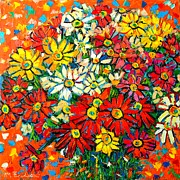 Textures And Colors Painting Prints - Autumn Flowers Colorful Daisies  Print by Ana Maria Edulescu