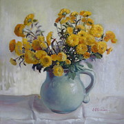 Mums Paintings - Autumn flowers by Elena Oleniuc