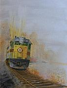 Trains Painting Prints - Autumn Fog Print by Christopher Jenkins