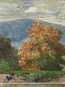 Landscape Mountain Trees Fisherman Art - Autumn Foliage With Two Youths Fishing by