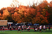Usa Prints Mixed Media - Autumn Football with Dry Brush Effect by Frank Romeo