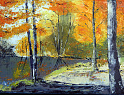 Landscapes Painting Framed Prints - Autumn Forest Framed Print by Lisa Elley