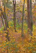 Autumn Landscape Painting Originals - Autumn forest by Victoria Kharchenko