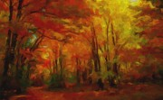 Autumn Trees Prints - Autumn Forest Watercolor Print by Terri Gostola