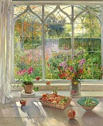 Vase Of Flowers Painting Prints - Autumn Fruit and Flowers Print by Timothy  Easton