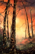 Mountain Biking Paintings - Autumn Glow by Jean Walker