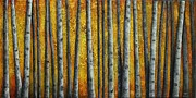 Autumn Trees Reliefs Prints - Autumn Glow Print by Linda Carmel