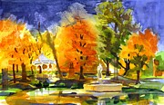 Gazebo Painting Framed Prints - Autumn Gold 2 Framed Print by Kip DeVore
