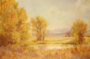Autumn Scenes Pastels Posters - Autumn Gold Poster by Barbara Smeaton