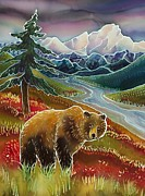Glacier National Park Paintings - Autumn Grizzly by Harriet Peck Taylor