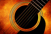 Acoustic Guitar Mixed Media - Autumn Guitar by Andee Photography