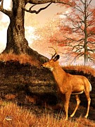Deer Art Pictures Framed Prints - Autumn Hart Framed Print by Daniel Eskridge