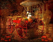 Corn Wagon Framed Prints - Autumn Harvest at Brewster General Framed Print by Lianne Schneider