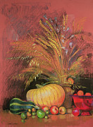 Picking Apples Posters - Autumn Harvest Poster by Claire Spencer