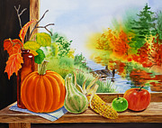 Squash Paintings - Autumn Harvest Fall Delight by Irina Sztukowski