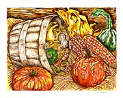 Blanket Drawings Prints - Autumn Harvest Print by Karen Sirard